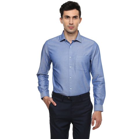 Turtle Solid Navy Blue Formal Shirt