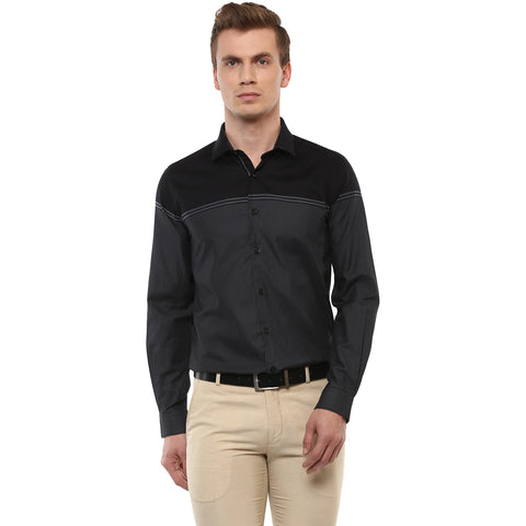 Turtle Men's Grey Engineered Formal Shirt