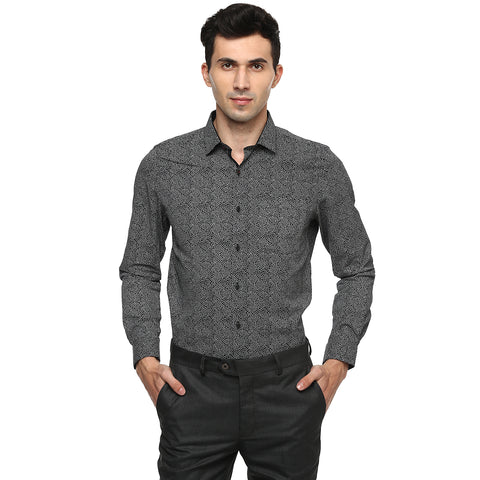 Black Geometric Print Formal Shirt