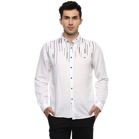 Turtle White Printed Cotton Linen Casual Shirt