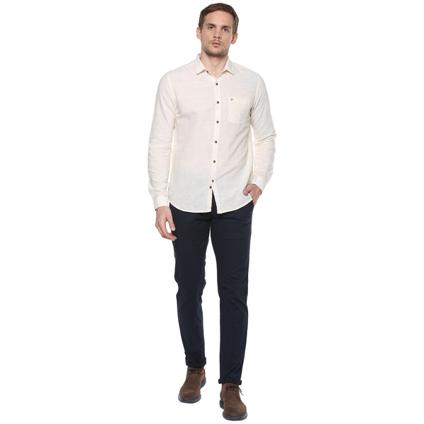 Cream Colored Hand Woven Casual Shirt