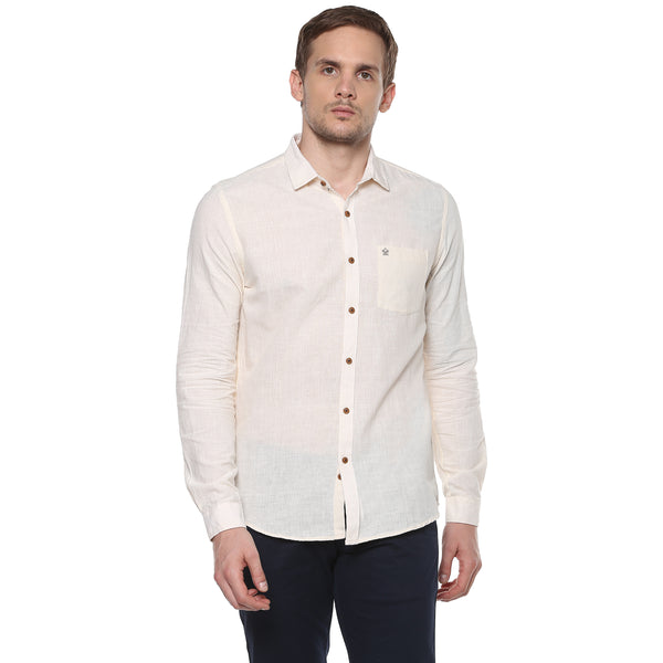 Turtle Off White Hand Woven Khadi Casual Shirt