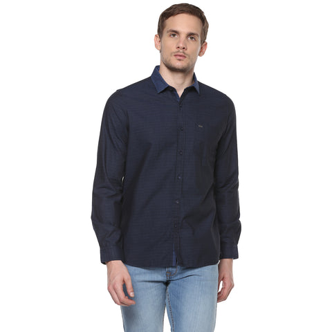 Navy Blue Structured Casual Shirt With Elbow Patches