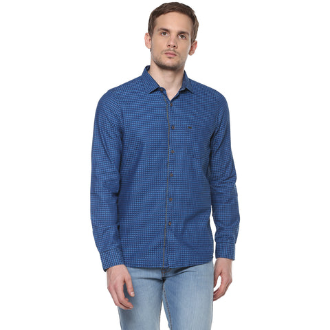 Indigo Blue Casual Shirt With Structured Checks
