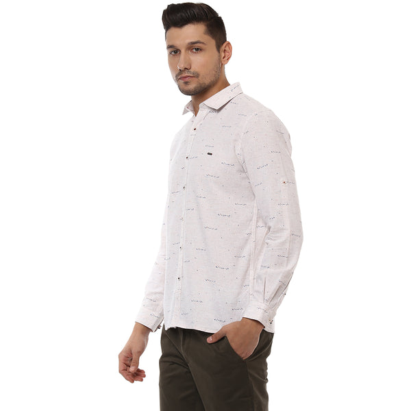 Beige Quirky Print Casual Shirt With Turn-up Sleeves
