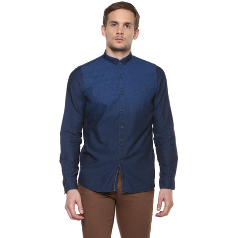 Indigo Blue Casual Shirt With Ombre Effect Print
