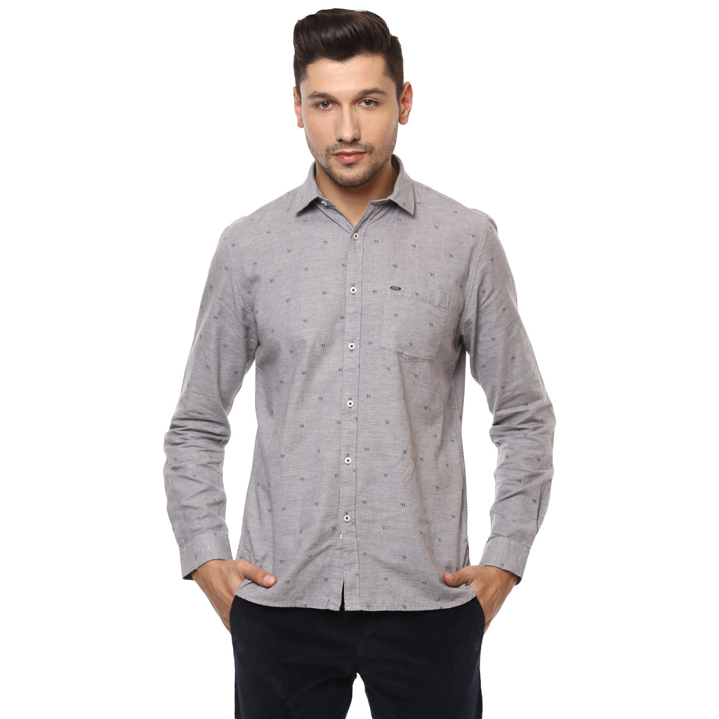 Grey Menlange Quirky Print Casual Shirt