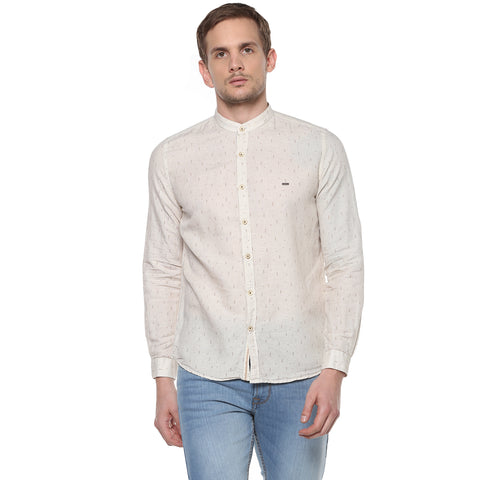 Beige Tribal Print Cotton Linen Casual Shirt