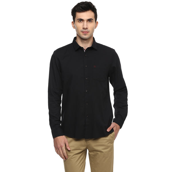 Turtle Solid Black Casual Shirt