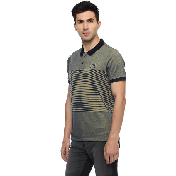 Turtle Men's Blue Two-tone Striped Slim Fit Polo T-shirt