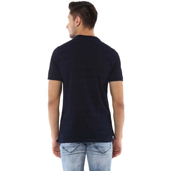 Navy Blue Polo Neck T-shirt With Ombre Print