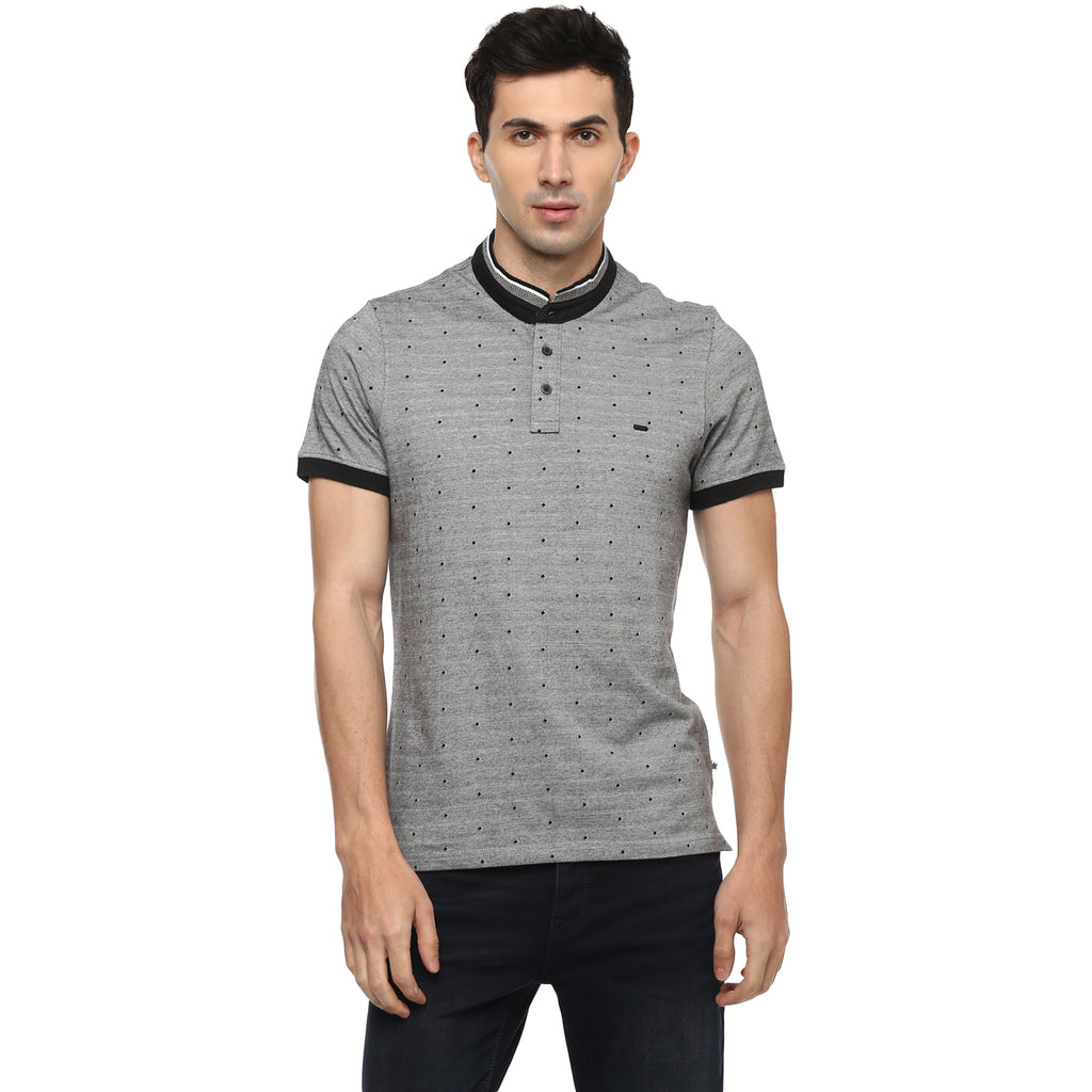 Turtle Men's Grey Structured Slim Fit Henley T-shirt