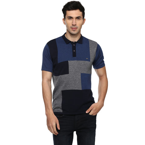 Turtle Navy Blue Colorblock Polo T-shirt