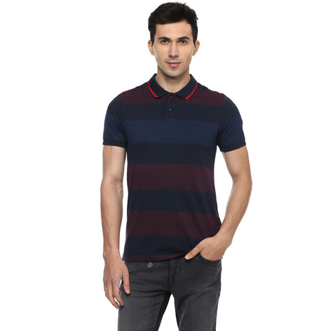 Turtle Men's Navy Blue Quirky Print Single Jersey Slim Fit Polo T-shirt