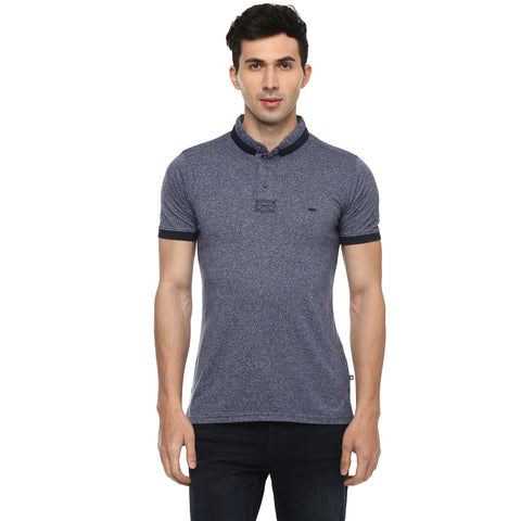 Turtle Men's Navy Blue Printed Single Jersey Slim Fit Polo T-shirt