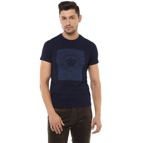 Navy Blue Graphic Print Round Neck T-Shirt
