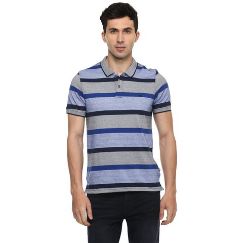 Turtle Men's Blue Striped Pique Knit Slim Fit Polo T-shirt