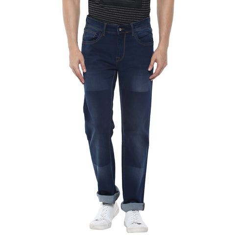 Turtle Men's Blue Slim Fit Denims With Laser Wash Effect