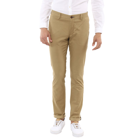 Beige Printed Chinos With Stretch