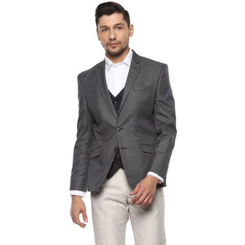 Solid Grey Structured Single Breasted Formal Blazer