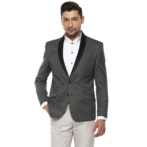 Grey Structured Single Breasted Blazer With Detachable Lapel