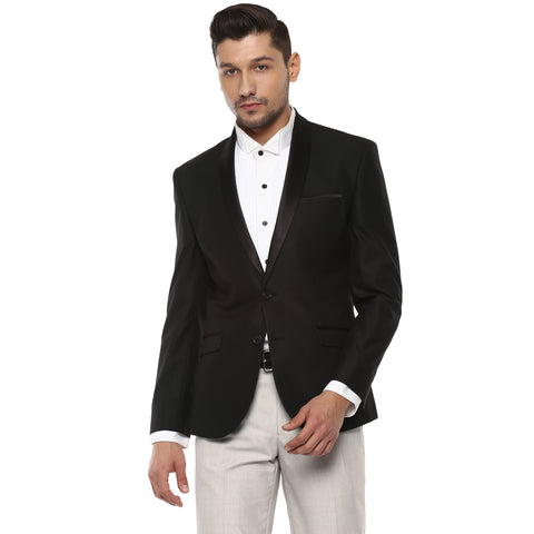 Black Structured Single Breasted Formal Blazer