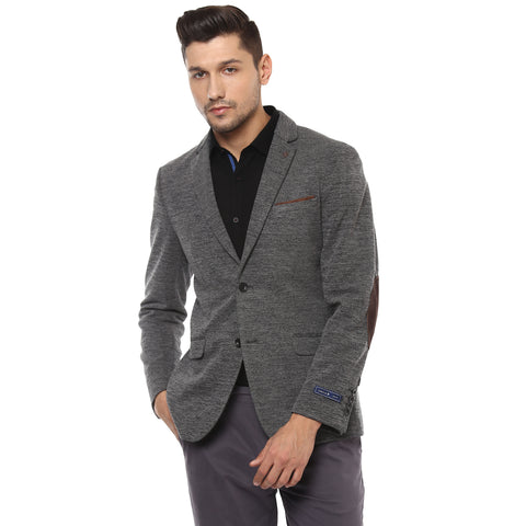 Grey Melange Knitted Single Breasted Casual Blazer