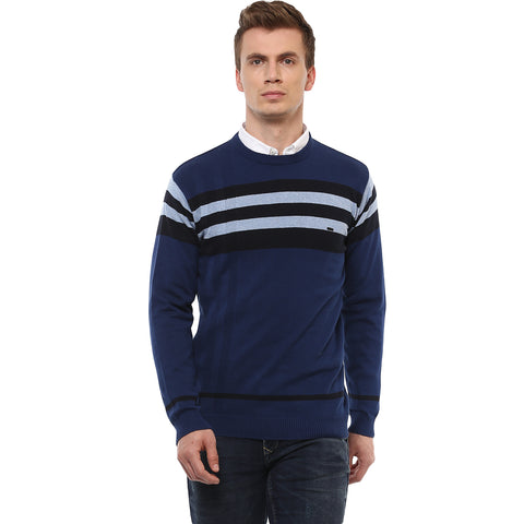 Turtle Men's Blue Engineered Pullover