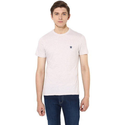 Beige Melange Round Neck Single Jersey T-shirt