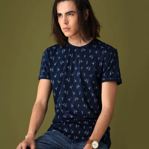 Turtle Navy Blue Round Neck Printed T-shirt