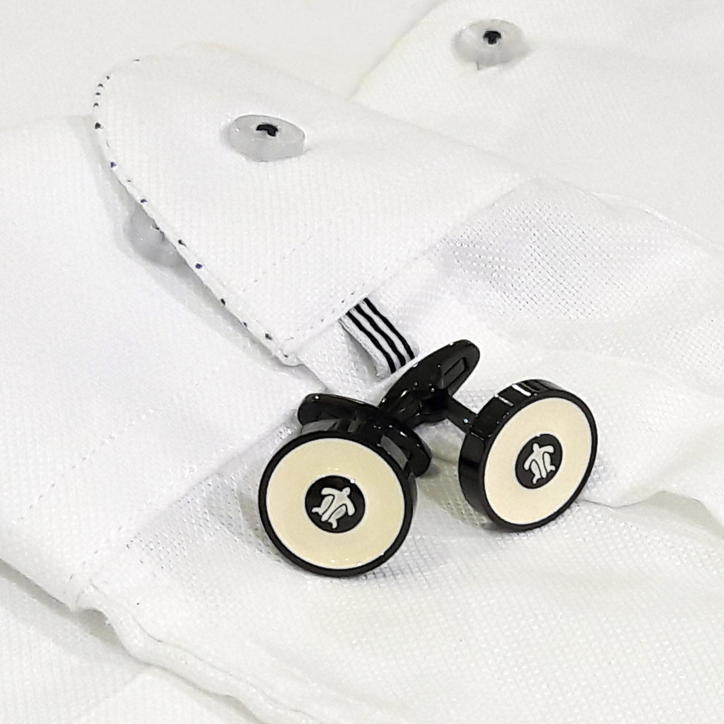 Turtle White And Black Pair Of Cufflinks With Designer Branding