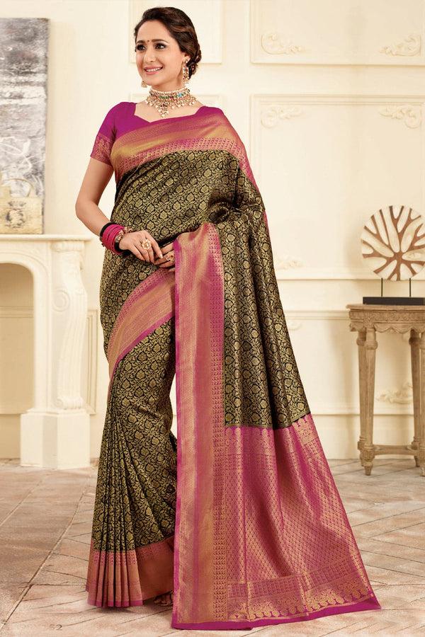 Black & pink handcrafted Kanjivaram Silk Saree - Buy online on Karagiri - Free shipping to USA