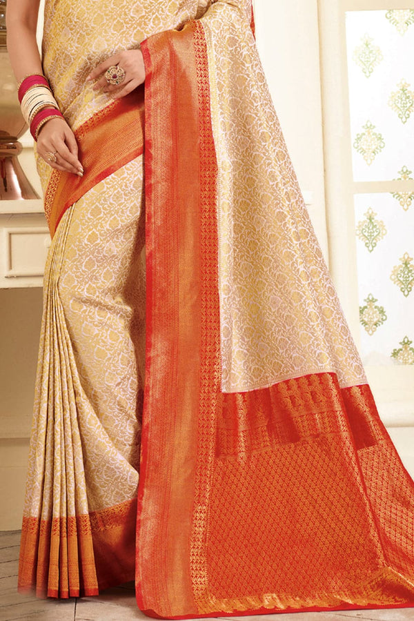 Beige red handcrafted Kanjivaram Silk Saree - Buy online on Karagiri - Free shipping to USA