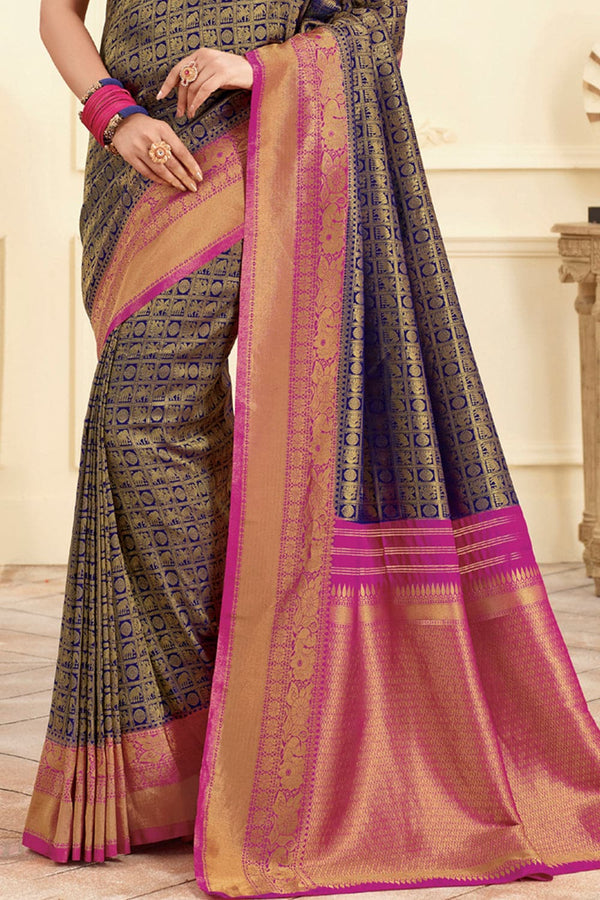 Deep navy blue handcrafted Kanjivaram Silk Saree - Buy online on Karagiri - Free shipping to USA