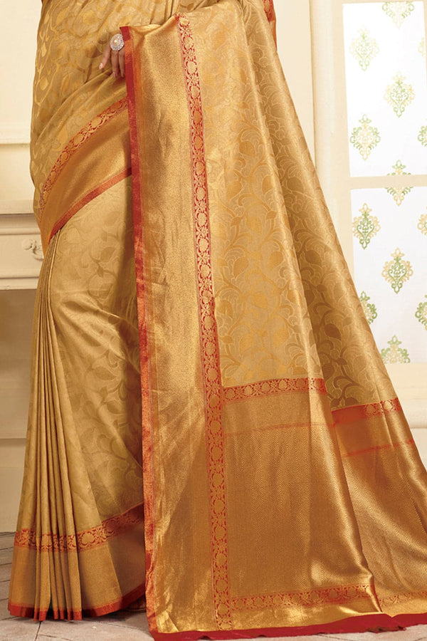 Golden handcrafted Kanjivaram Silk Saree