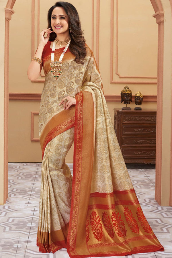 Rustic beige red handcrafted Kanjivaram Silk Saree