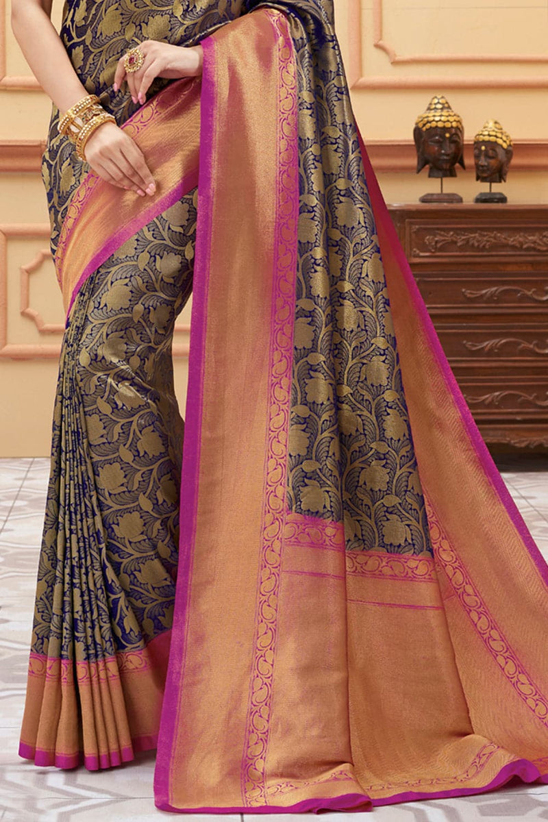Navy blue handcrafted kanjivaram Saree - Buy online on Karagiri - Free shipping to USA