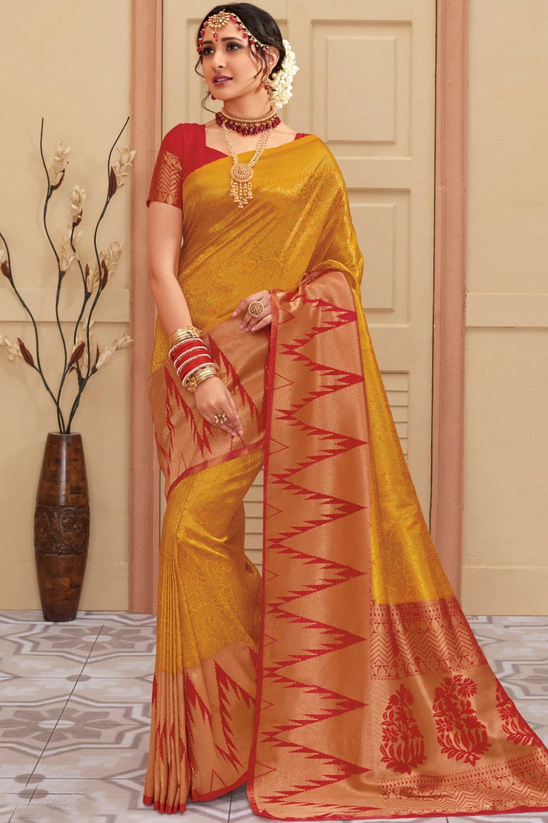 Mustard yellow red handcrafted kanjivaram Saree with temple woven border - Buy online on Karagiri - Free shipping to USA