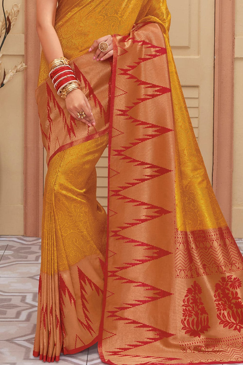 Mustard yellow red handcrafted Kanjivaram Silk Saree with temple woven border