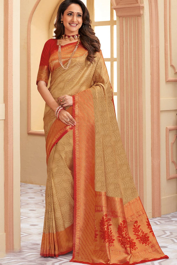 Golden red handcrafted Kanjivaram Silk Saree with temple woven border