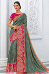 Sage Green With Pink Border Embroidered Chanderi Silk Saree