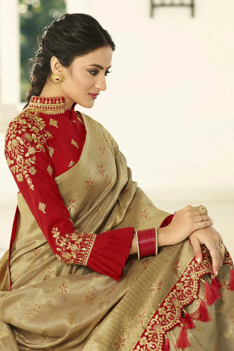 Antique gold designer banarasi saree with embroidered silk blouse - Wedding sutra collection - Buy online on Karagiri - Free shipping to USA