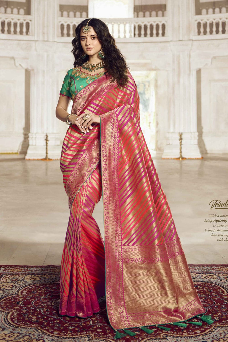 Pink woven designer banarasi saree with embroidered silk blouse - Wedding sutra collection - Buy online on Karagiri - Free shipping to USA