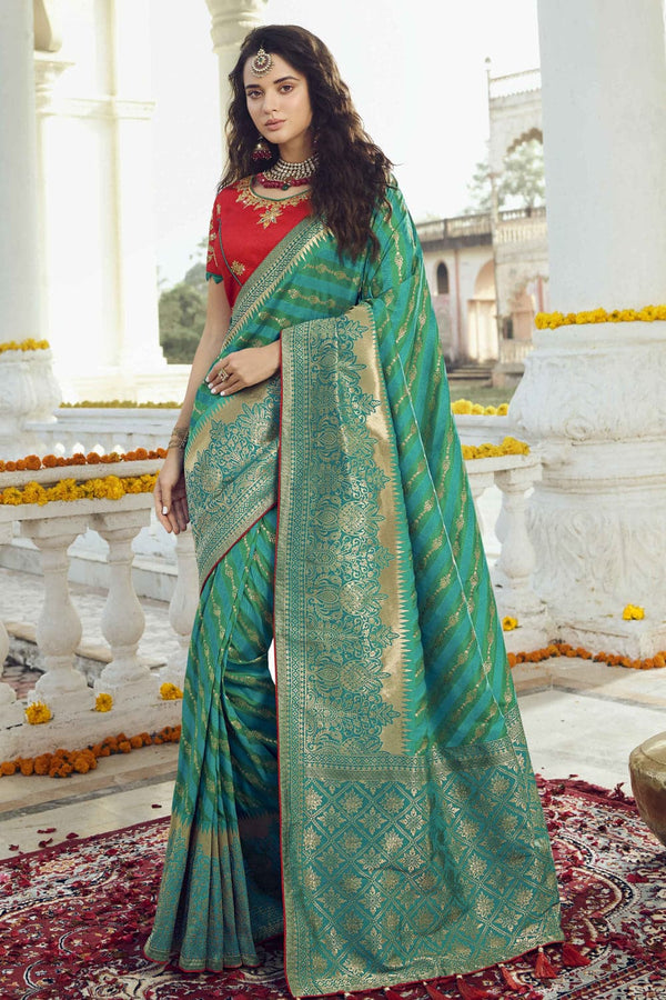 Teal blue woven designer banarasi saree with embroidered silk blouse - Wedding sutra collection - Buy online on Karagiri - Free shipping to USA