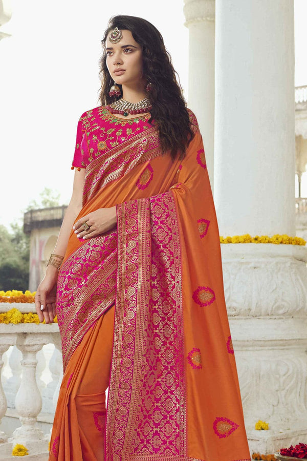 Mustard yellow pink woven designer banarasi saree with embroidered silk blouse - Wedding sutra collection - Buy online on Karagiri - Free shipping to USA