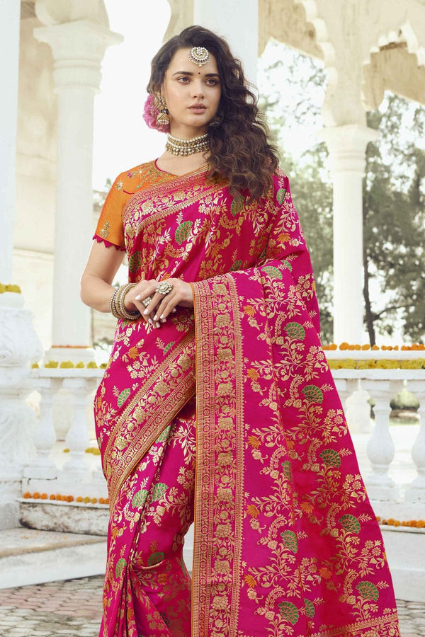 Deep pink floral woven designer banarasi saree with embroidered silk blouse - Wedding sutra collection