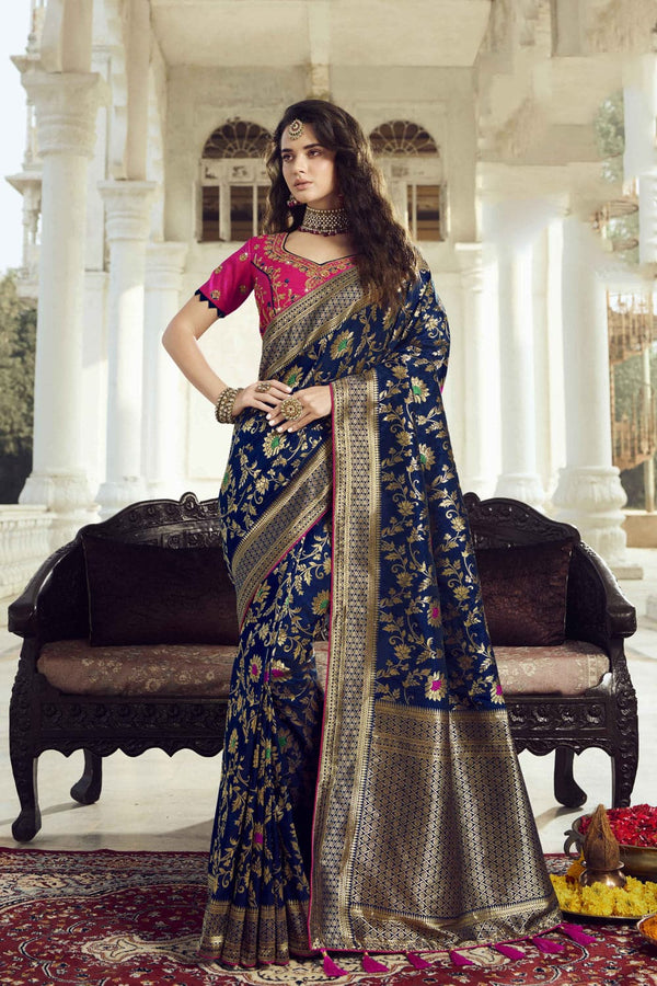 Bridal navy blue woven designer banarasi saree with embroidered silk blouse - Wedding sutra collection - Buy online on Karagiri - Free shipping to USA