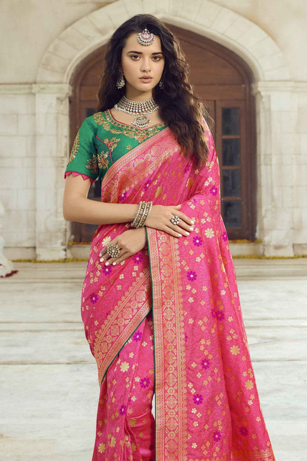 Pastel pink woven designer banarasi saree with embroidered silk blouse - Wedding sutra collection - Buy online on Karagiri - Free shipping to USA