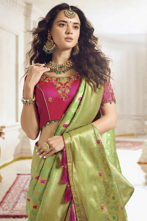 Pastel green woven designer banarasi saree with embroidered silk blouse - Wedding sutra collection - Buy online on Karagiri - Free shipping to USA