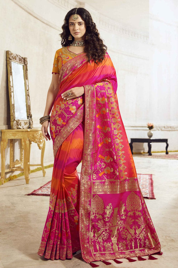 Orange pink shaded woven designer banarasi saree with embroidered silk blouse - Wedding sutra collection - Buy online on Karagiri - Free shipping to USA